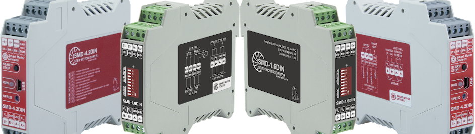 Group of 4 stepper motor drives SMD-4.2DIN and SMD-1.6DIN