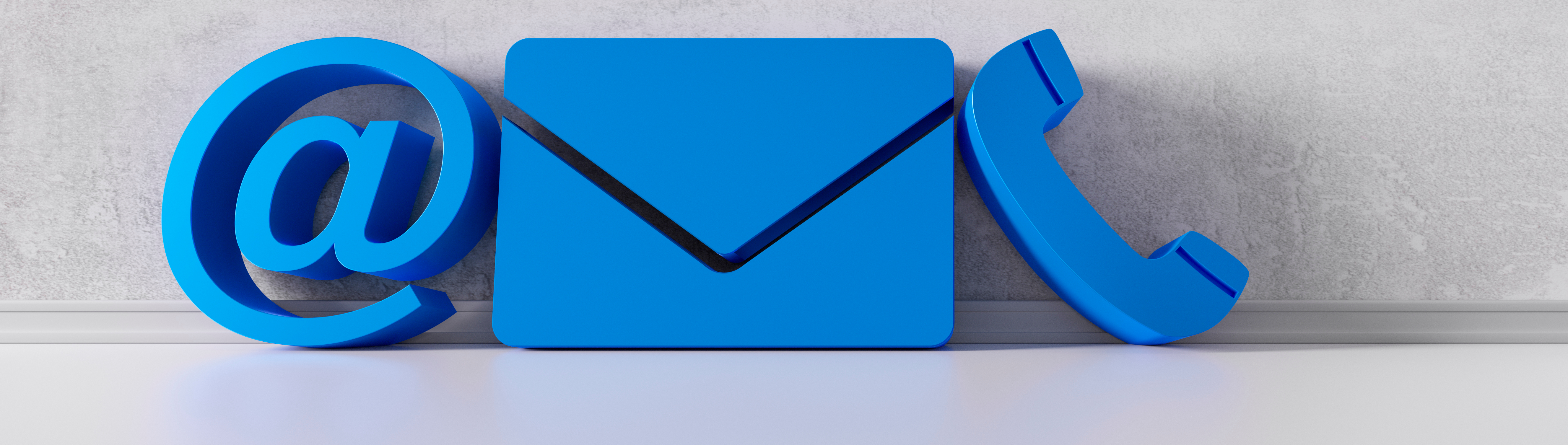 3D icons for email, letter and phone on ORLIN Technologies Ltd Contact page